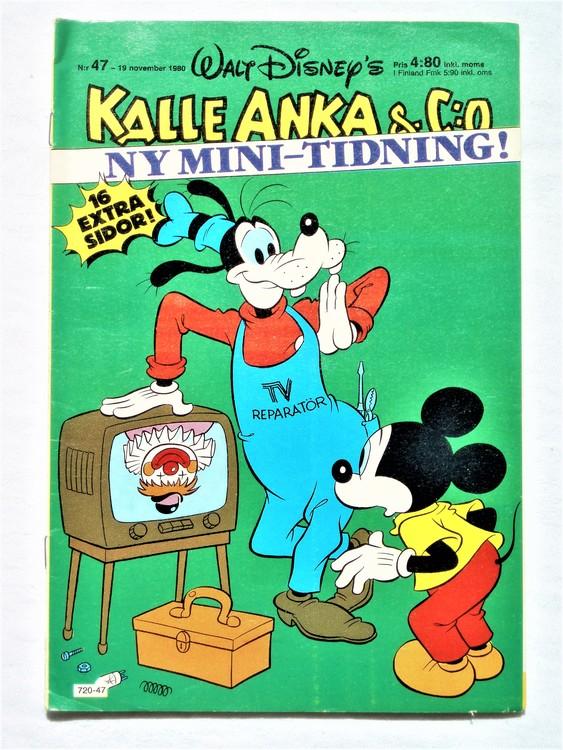 Kalle Anka&Co nr47,1980 mycket bra skick,ryggen sliten,lite småskador finns