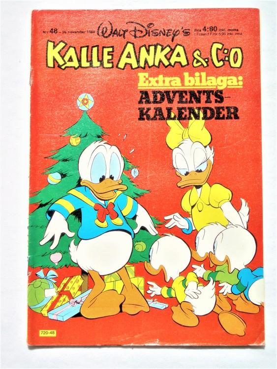 Kalle Anka&Co nr48,1980 mycket bra skick,ryggen sliten,lite småskador finns