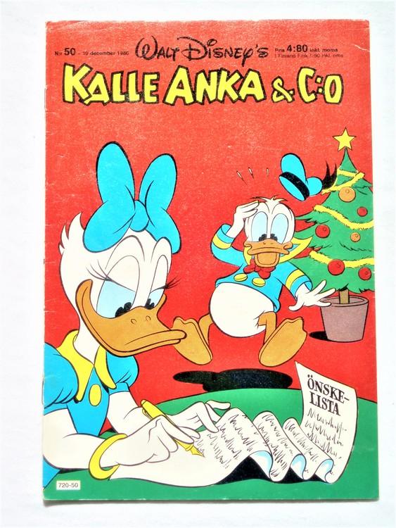 Kalle Anka&Co nr50,1980 mycket bra skick,ryggen sliten,lite småskador finns