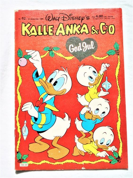 Kalle Anka&Co nr52,1980 mycket bra skick,ryggen sliten,lite småskador finns