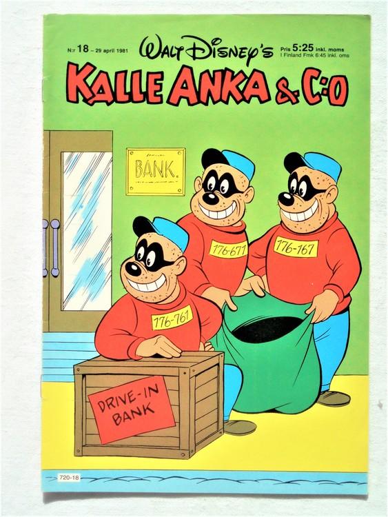 Kalle Anka&Co nr18,1981 bättre skick,lite småskador finns.