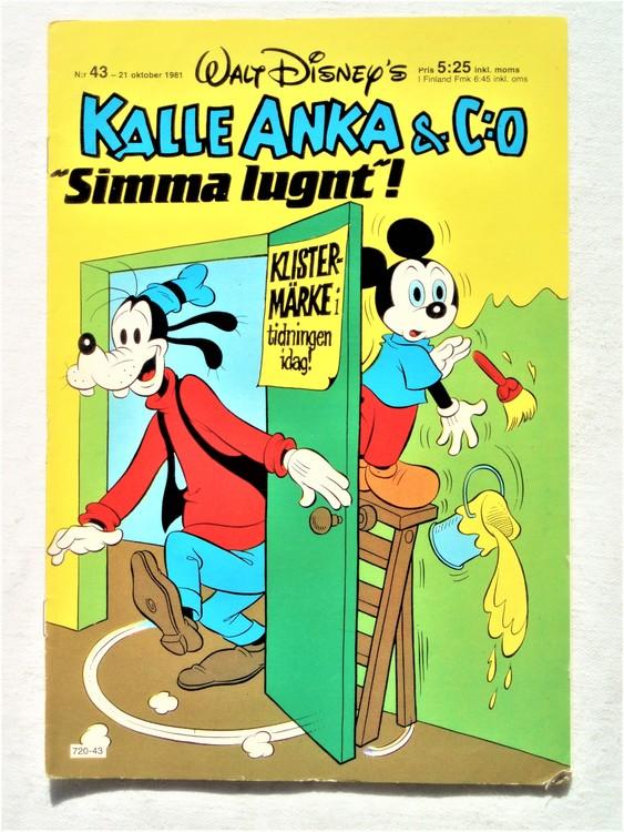 Kalle Anka&Co nr43,1981 bra skick,lite små skavanker finns.