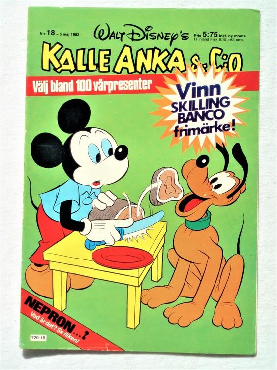 Kalle Anka&Co nr18 1982 bra skick,lite små skavanker finns.