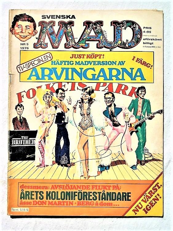 Svenska Mad nr 5 1976 rygg lite sliten,mycket bra skick