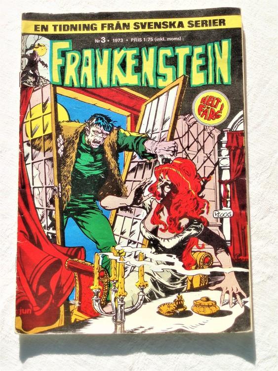 Frankenstein nr 3,1973 färg, sliten rygg,sitter ihop, bättre skick