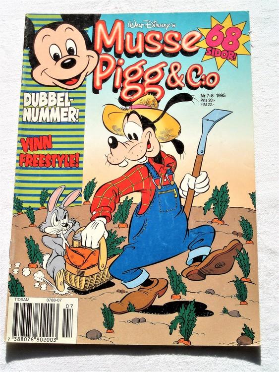 Musse Pigg& C:o nr 7-8 1995 dubbelnummer Walt Disney´s mycket bra skick.