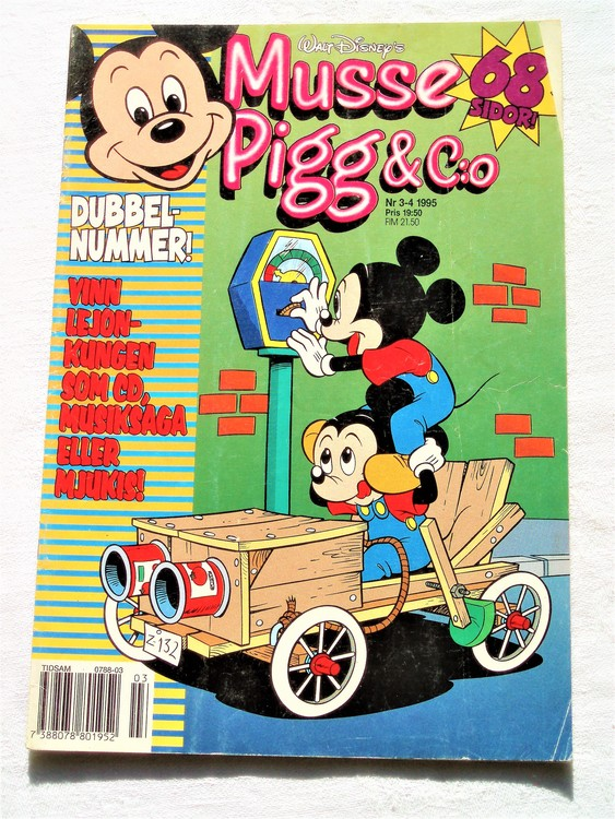 Musse Pigg& C:o nr 3-4 1995 dubbelnummer Walt Disney´s mycket bra skick.