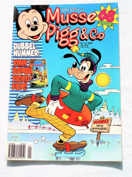 Musse Pigg& C:o nr 1-2 1995 dubbelnummer Walt Disney´s mycket bra skick.