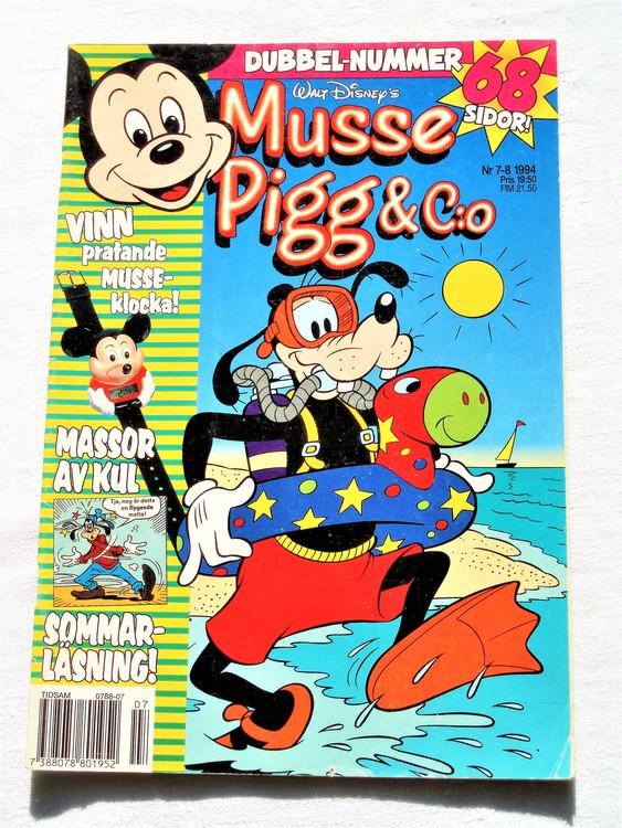 Musse Pigg& C:o nr 7-8 1994 dubbelnummer Walt Disney´s mycket bra skick.