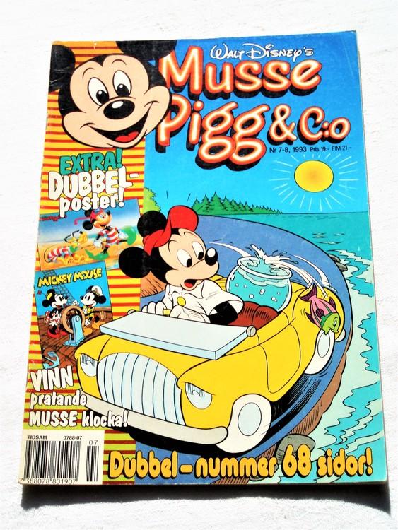 Musse Pigg& C:o nr 7-8 1993 dubbelnummer Walt Disney´s mycket bra skick.