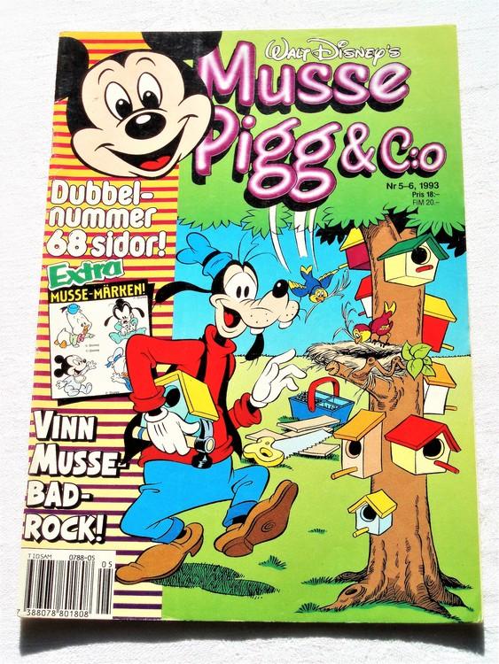 Musse Pigg& C:o nr 5-6 1993 dubbelnummer Walt Disney´s mycket bra skick.