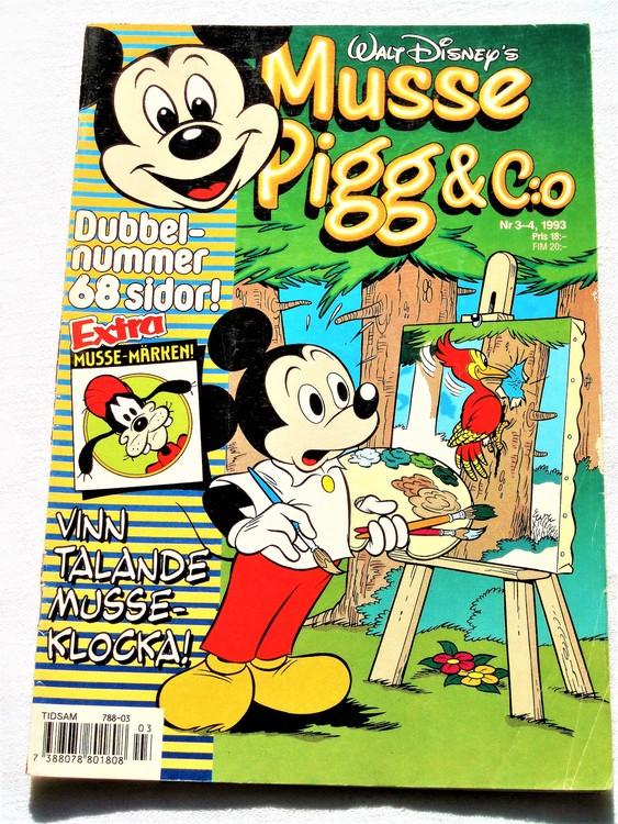 Musse Pigg& C:o nr 3-4 1993 dubbelnummer Walt Disney´s mycket bra skick.