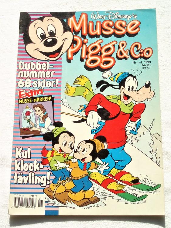 Musse Pigg& C:o nr 1-2 1993 dubbelnummer Walt Disney´s mycket bra skick.