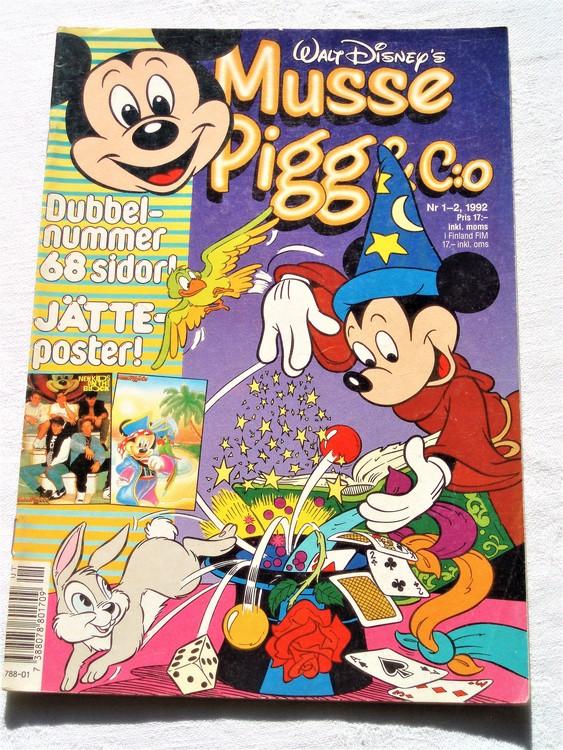 Musse Pigg& C:o nr 1-2 1992 dubbelnummer Walt Disney´s mycket bra skick.