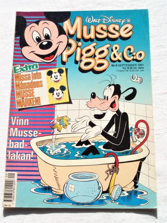 Musse Pigg& C:o nr 9 1991 Walt Disney´s mycket bra skick.