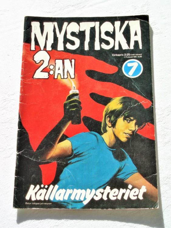 """Mystiska 2:an """"Källarmysteriet"""" nr 7 1973  bättre skick."""
