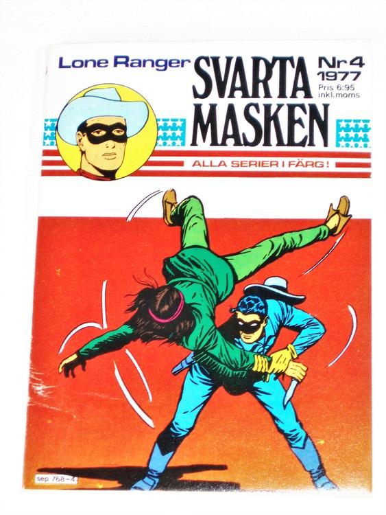 "Svarta Masken""Lone Ranger""nr 4 1977 Serie-pocket  mycket bra skick nyskick."