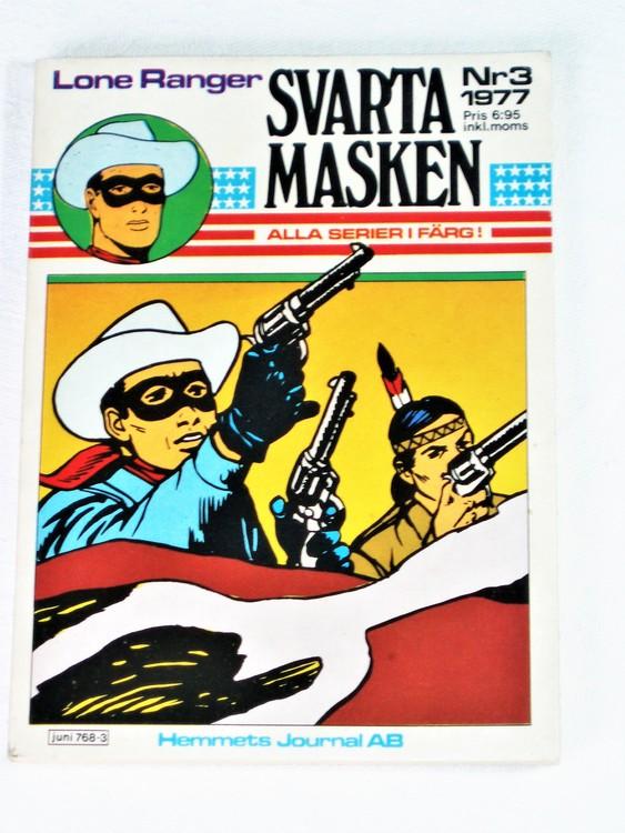 "Svarta Masken""Lone Ranger""nr 3 1977 Serie-pocket  mycket bra skick nyskick."