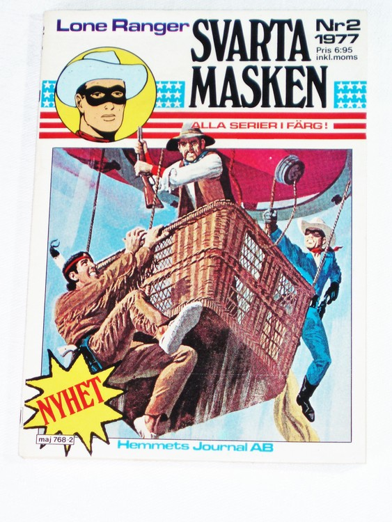 "Svarta Masken""Lone Ranger""nr 2 1977 Serie-pocket  mycket bra skick nyskick."