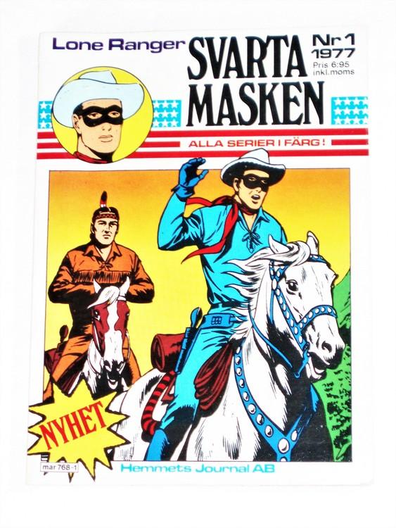 "Svarta Masken""Lone Ranger""nr1 1977 Serie-pocket  mycket bra skick nyskick."