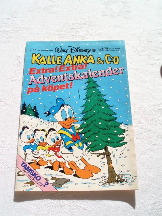 Kalle Anka & Co nr 47 1982 mycket bra skick adressetikett baksida data tryck.