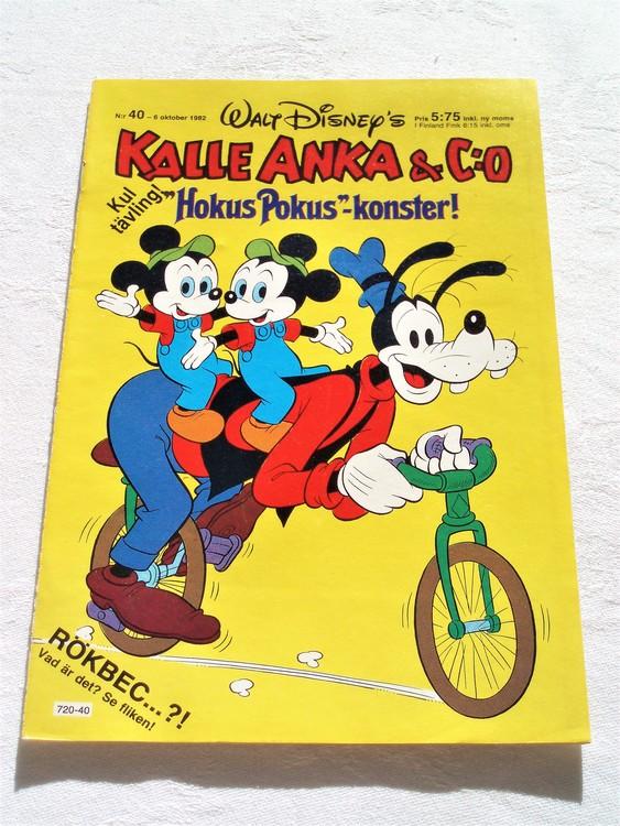 Kalle Anka&Co nr40 1982 mycket bra skick adressetikett baksida data tryck.