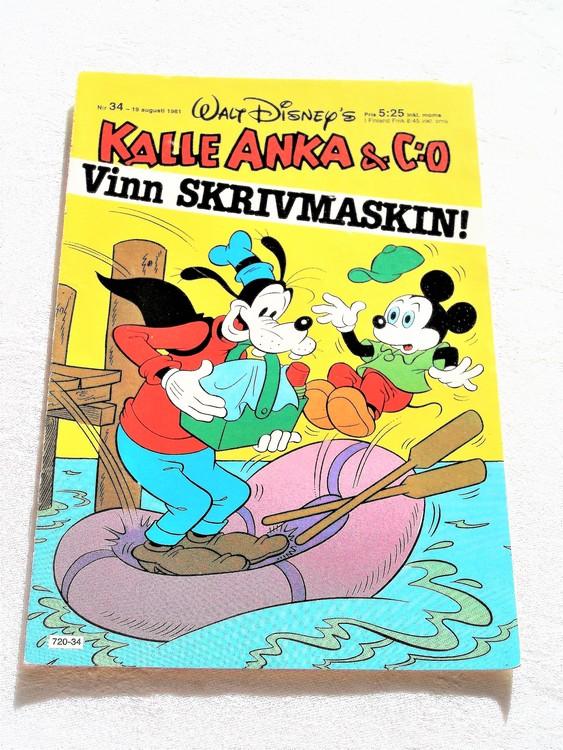 Kalle Anka&Co nr 34, 1981 mycket bra skick adressetikett baksida data.