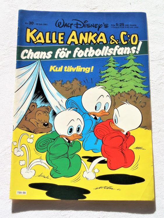 Kalle Anka & Co nr 30, 1981 mycket bra skick adressetikett baksida data.