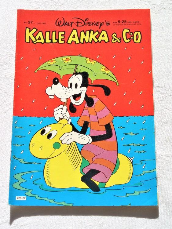 Kalle Anka&Co nr27, 1981 mycket bra skick adressetikett baksida data.