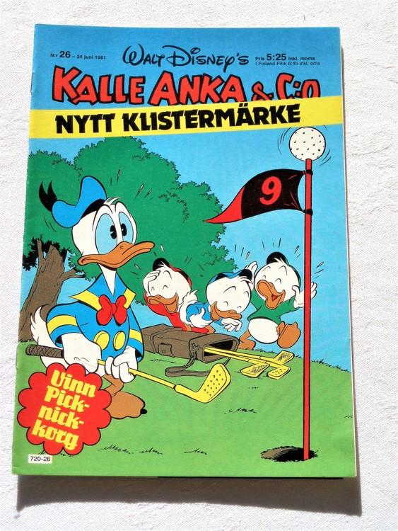 Kalle Anka&Co nr 26, 1981 mycket bra skick adressetikett baksida data.