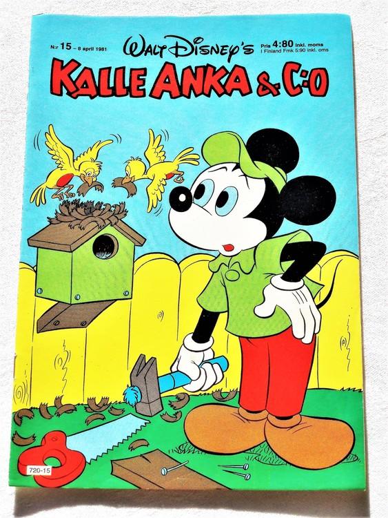 Kalle Anka&Co nr 15,1981 mycket bra skick adressetikett baksida data.