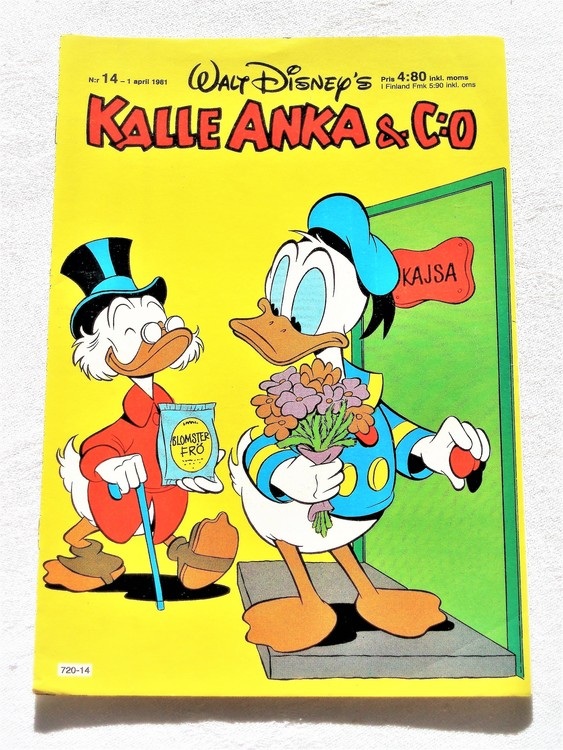 Kalle Anka&Co nr 14, 1981 mycket bra skick adressetikett baksida data.