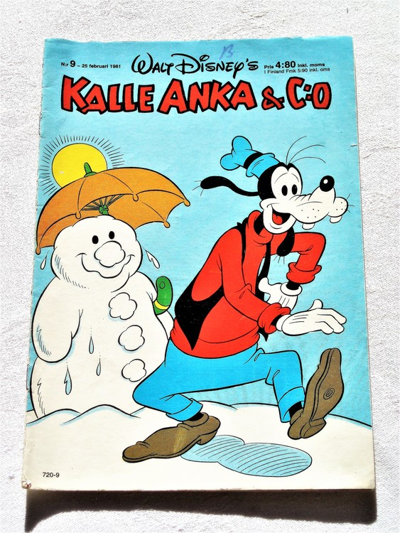 Kalle Anka&Co nr9,1981 adresstryck baksida data mycket bra skick.
