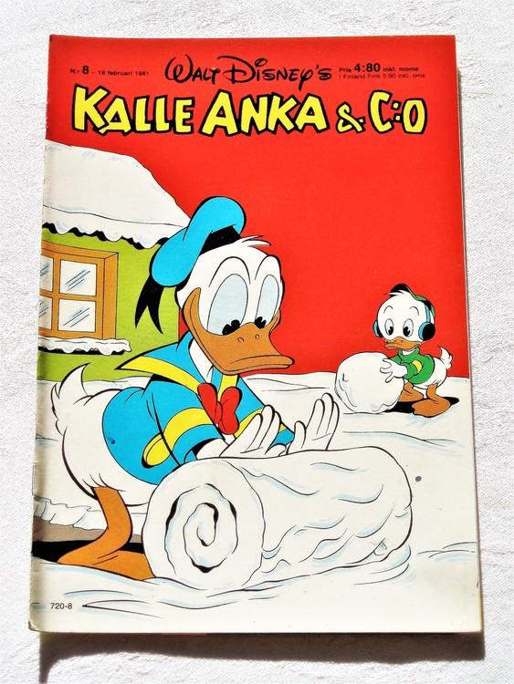 Kalle Anka&Co nr8,1981 mycket bra skick adresstryck baksida data.