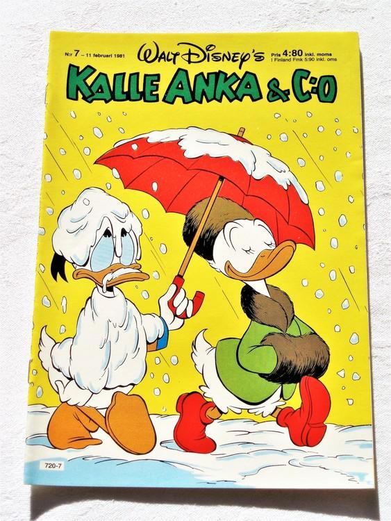 Kalle Anka&Co nr7,1981 mycket bra skick adresstryck baksida data.
