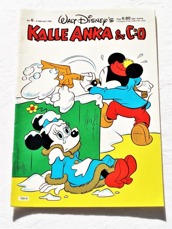 Kalle Anka&Co nr 6, 1981 mycket bra skick. Adresstryck baksida.