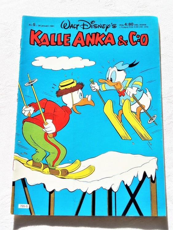 Kalle Anka&Co nr5,1981 mycket bra skick adresstryck baksida data.