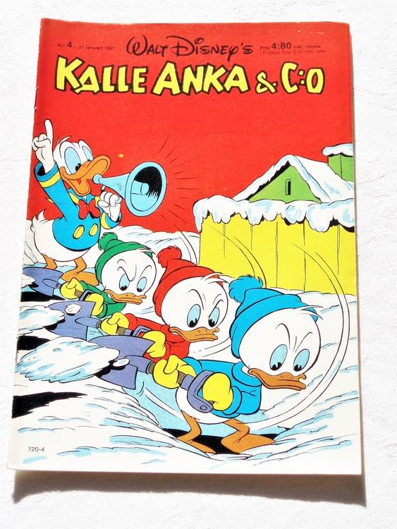 Kalle Anka&Co nr4,1981 mycket bra skick adresstryck baksida data.
