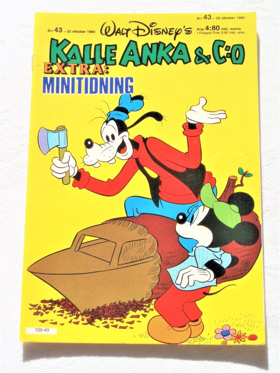 Kalle Anka&Co nr43,1980 mycket bra skick adresstryck baksida data.