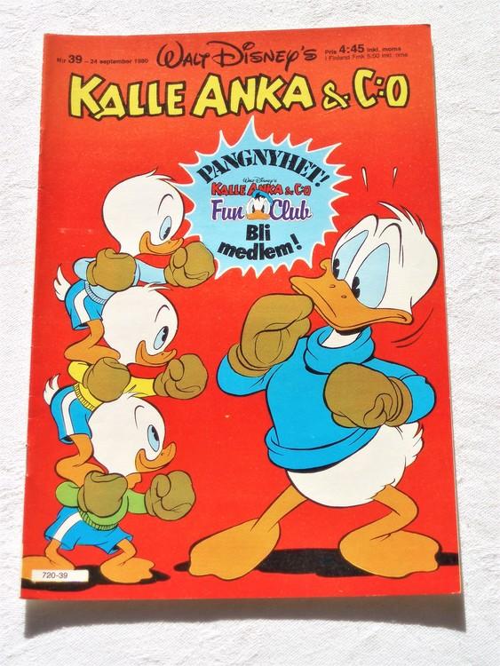 Kalle Anka&Co nr39,1980 mycket bra skick adresstryck baksida data.