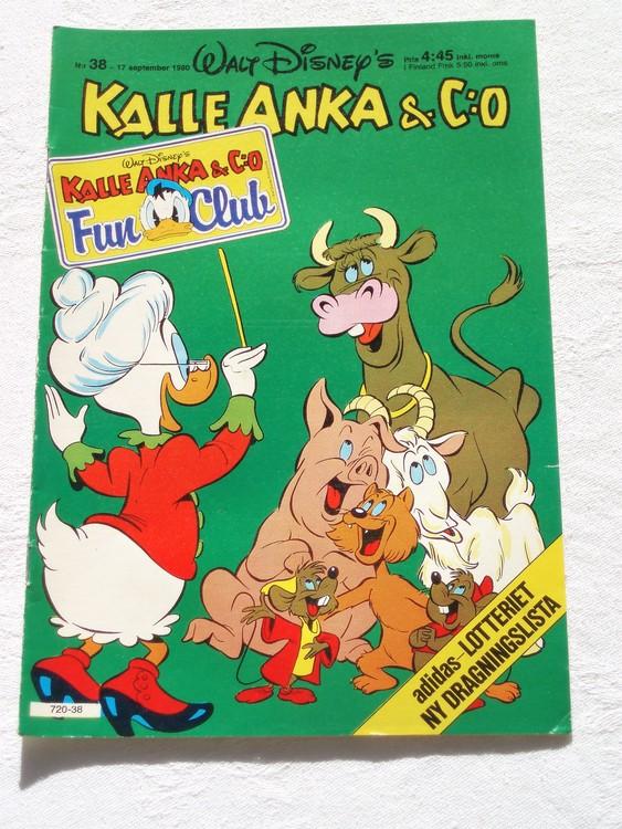 Kalle Anka&Co nr38,1980 mycket bra skick adresstryck baksida data.