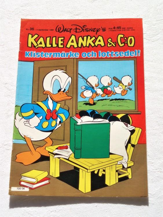 Kalle Anka&Co nr36,1980 mycket bra skick adresstryck baksida data.