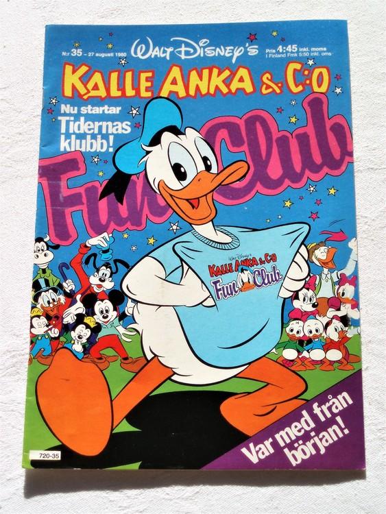 Kalle Anka&Co nr35,1980 mycket bra skick adresstryck baksida data.