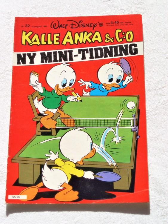 Kalle Anka&Co nr32,1980 mycket bra skick adresstryck baksida data.