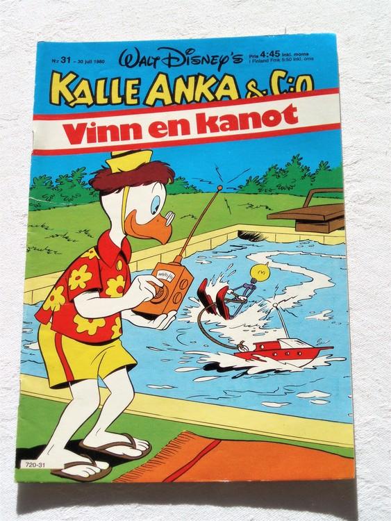 Kalle Anka&Co nr31,1980 mycket bra skick adresstryck baksida data.