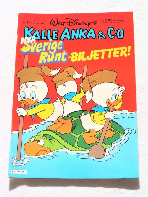 Kalle Anka&Co nr24,1980 mycket bra skick adresstryck baksida data.