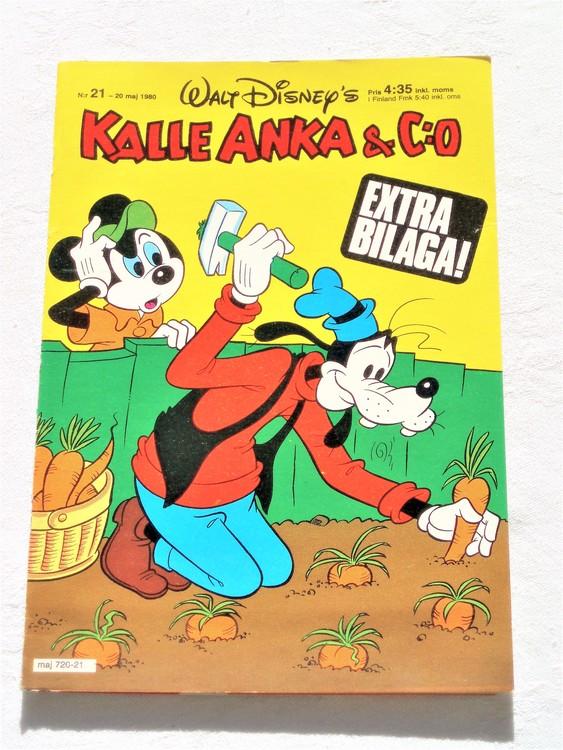 Kalle Anka&Co nr21,1980 mycket bra skick adresstryck baksida data.