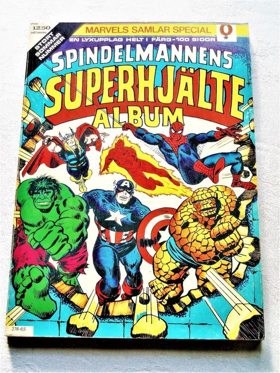 Spindelmannens Superhjälte album nr 1 1975 färg bättre skick.