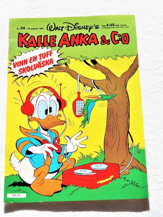 Kalle Anka&Co nr34,1980 mycket bra skick adresstryck baksida data.