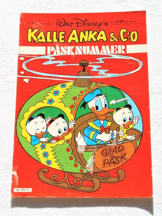 Kalle Anka&Co nr14,1980 mycket bra skick,ryggen sliten,lite småskador finns.